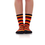 Woman legs in zebrine socks Stock Image