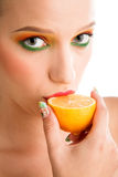 Woman with lemon Royalty Free Stock Photography