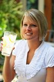 Woman with Lemonade Royalty Free Stock Image
