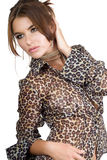 Woman in leopard blouse Royalty Free Stock Images