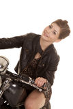 Woman leopard dress motorcycle sit lean Royalty Free Stock Photos