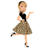 Woman in leopard print. Stylish woman in leopard print party skirt Stock Photo