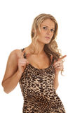 Woman leopard print tank top stand hold straps Stock Image