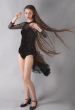 Woman in Leotard With Long Blowing Hair Royalty Free Stock Images