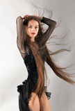 Woman in Leotard With Long Blowing Hair Stock Image