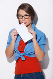 Woman with letter. Stock Images