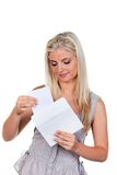 Woman is a letter in an envelope Royalty Free Stock Images