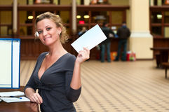 Woman with letter in hand Royalty Free Stock Photo