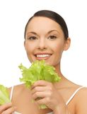 Woman with lettuce Stock Photos