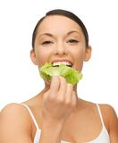 Woman with lettuce Royalty Free Stock Images