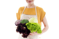 Woman with lettuce, cabbage and broccoli. Stock Photos