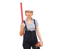 Woman with levelmeter Stock Image