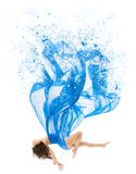 Woman Levitate In Art Dress, Fashion Model Levitation, Blue. Artistic Fabric Flying As Melted Water on white background Stock Images