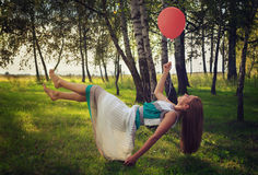 Woman levitating in the forest Royalty Free Stock Photography