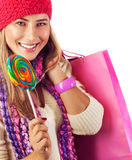 Woman lick lollipop Royalty Free Stock Images