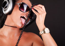 Woman is licking Royalty Free Stock Photography