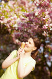 Woman licking ice cream Royalty Free Stock Photo