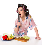 Woman licking a knife Royalty Free Stock Photos