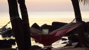 The woman lies in a red hammock on the seashore. Beautiful sunset on a tropical island. The woman photographs on the. The woman lies in a red hammock on the stock footage