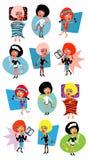 Woman life icons- sport, diet,. Diversity active people fun cartoon illustration,health, sleep, business,sex, love stock illustration