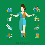 Woman lifestyle vector flat infographic - life balance. Flat life balance young woman abstract lifestyle concept. Stylish 2-sided divided human figure front view Stock Image