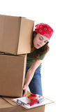 Woman Lifting Boxes Stock Photo