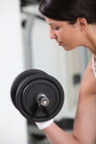 Woman lifting a dumbbell Royalty Free Stock Photography