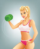 Woman lifting dumbbell. Slim fit woman lifting dumbbell Royalty Free Stock Images