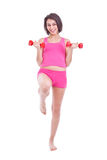 Woman lifting dumbbells Royalty Free Stock Photo