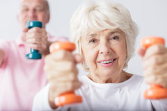 Woman lifting the dumbbells Stock Photography