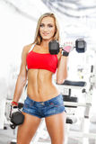 Woman lifting dumbbells Royalty Free Stock Images