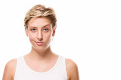 Woman lifting eyebrow Stock Image
