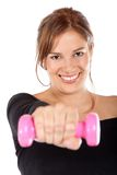 Woman lifting free-weights Stock Image