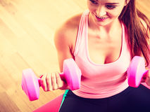Woman lifting two dumbbells. Stock Photography