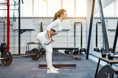 Woman lifting a weight crossfit in the gym. Fitness woman deadlift barbell. Young fitness woman lifting a weight in the gym. Fitness woman deadlift barbell Stock Photos