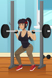 Woman Lifting Weight. A vector illustration of woman lifting weight in gym Stock Photo