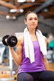 Woman lifting weights Royalty Free Stock Images