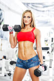 Woman lifting weights in a training session Stock Image