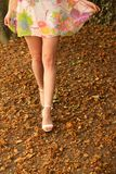 Woman lifts skirt hem. In a park woods setting royalty free stock photos