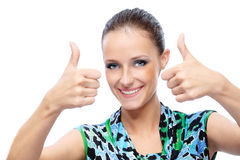 Woman lifts upwards thumb Royalty Free Stock Images