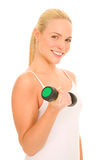Woman lifts weights Royalty Free Stock Photo
