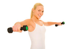 Woman lifts weights Stock Photos