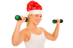 Woman lifts weights. In the white background Stock Images