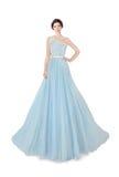 Woman in light blue ball dress. Woman model in light blue ball dress Royalty Free Stock Images