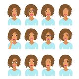 Woman with light brown hair and emotions. User icons. Avatar Vector illustration royalty free illustration