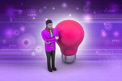 Woman with light bulb Royalty Free Stock Image