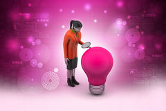 Woman with light bulb Royalty Free Stock Photography