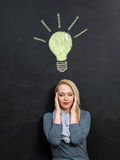A woman and a light bulb drawn in chalk on a blackboard Stock Images