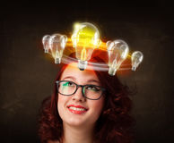 Woman with light bulbs circleing around her head Royalty Free Stock Photos