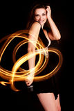 Woman light painting Royalty Free Stock Images